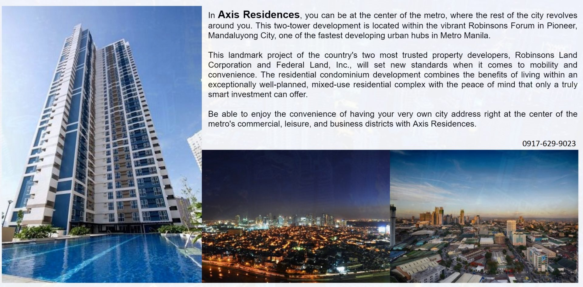Axis Residences Condo For Sale in Pioneer Boni Mandaluyong City